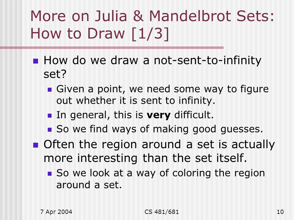 More on Julia & Mandelbrot Sets: How to Draw [1/3]